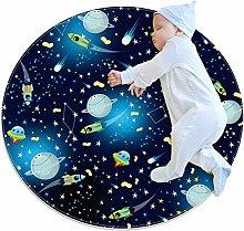 Baby Rug Universe Planet Rocket Round Tent Rug