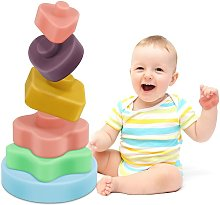 Baby Stacking Toys Silicone Teether Toys 6 Pieces