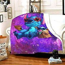 Baby Yoda and Stitch Blanket Super Soft Warm Solid