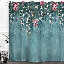 Baccessor Flowers Shower Curtain Teal Blue