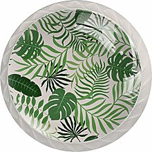Background with Palm Leaves 4PCS Drawer Knob Pull