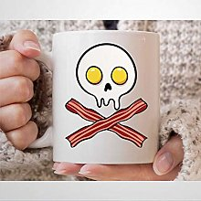 Bacon Egg Skull Coffee Mug Funny Bacon and Eggs