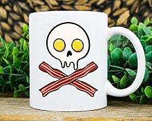 Bacon Egg Skull Mug, Funny Bacon and Eggs Coffee