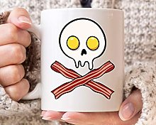 Bacon Egg Skull Mug Funny Bacon and Eggs Coffee