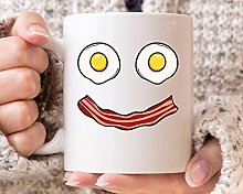 Bacon Egg Smile Mug Funny Bacon and Eggs Coffee