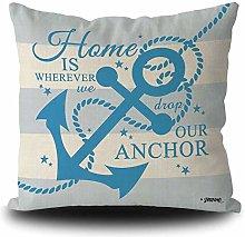 BAGEYOU Nautical Baby Blue Anchor Rustic Pillow