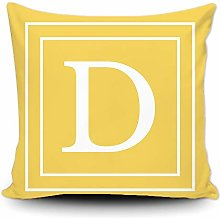 BAGEYOU Yellow Pillow Cover with White Letter