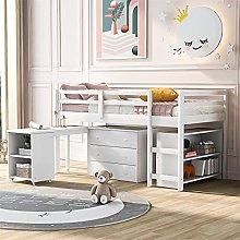 BAGLE Kids Mid Sleeper Bed, 3FT Single Childs Mid