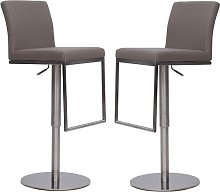 Bahama Bar Stools In Taupe Faux Leather In A Pair