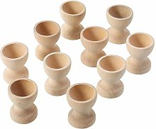 Baifeng 10 Pcs Egg Cup Wooden Storage Holders