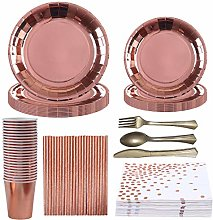 Baipin Rose Gold Paper Tableware 99 Piece Party