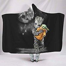 Ballbollbll Baby Groot hugging Yoda Hooded Throw
