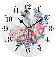 Ballerina Girl Floral Dress Wall Clocks Battery