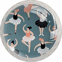 Ballet Girl 4 Pack Round ABS Drawer Knob,