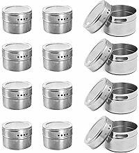 BALLSHOP 12 x Stainless Steel Magnetic Spice Rack