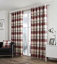 Balmoral Check Lined Eyelet Curtains, Ring Top