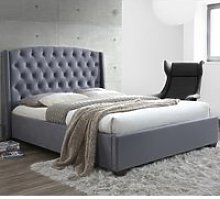 Balmoral Grey Velvet Fabric Winged Bed Frame -