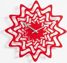 Balzer Wall Clock Ebern Designs Colour: Red