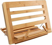 Bamboo Book Stand, Adjustable Reading Cookbook