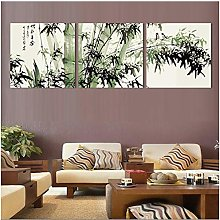 Bamboo Canvas Wall Art Landscape Painting 3 Pieces
