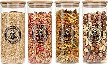 Bamboo Craft Set of 4 Borosilicate Glass Jars with
