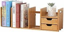 Bamboo Desktop Bookshelf Desk Organiser Expandable