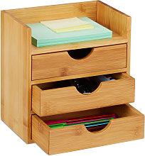 Bamboo Desktop Organizer, 3 Drawers, Desk Tidy,