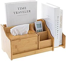 Bamboo Desktop Shelf with Tissue Box, Office Desk