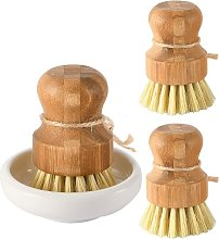 Bamboo Dish Scrub Brushes, Kitchen Wooden Cleaning