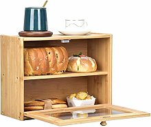 Bamboo Double Decker Bread Bin Made of Wood,