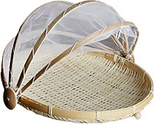 Bamboo Fruit Basket with Cover Folding Picnic