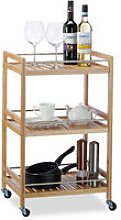 Bamboo Kitchen Trolley with 3 Shelves, Natural