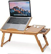 Bamboo Laptop Desk, Folding Laptop Bed Table