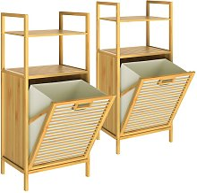 Bamboo Laundry Basket Shelf Bathroom Wooden Launry