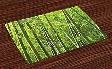 Bamboo Place Mats Set of 6, Exotic Tropical Bamboo