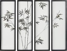 Bamboo Print Metal and Glass Four-Part Wall Art