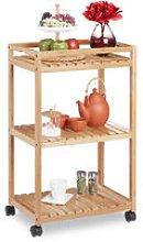 Bamboo Serving Trolley, 3-Tier Kitchen Cart,