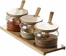 Bamboo Spice Preserving Glass Jar Set 300ml Spice