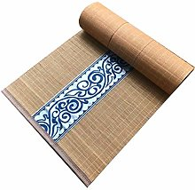 Bamboo Table Runners With Brown Fabric Border,
