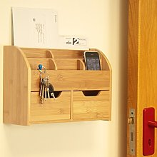 Bamboo Wall Mounted Letter Holder Key Rack (or