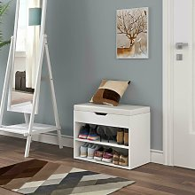 Bamny Shoe Cabinet Seat Storage Closet Wooden Rack Cupboard Shoes Bench with Padded Cushion Seat