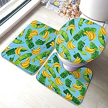 Banana Bathmat,Pattern with Banana Leaves and