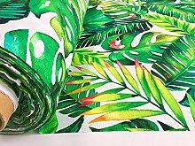 BANANA LEAVES Fabric Tropical Palm Leaf Cotton