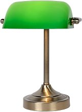 Banker 31cm Table Lamp Lucide Colour: Bronze/Green