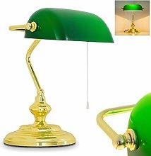 Banker Light Art Nouveau with Green Glass