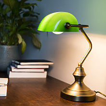 Bankers Lamp Bronze with Green Shade