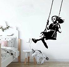 Banksy Swinging Girl Wall Sticker Nursery Kids