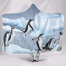 Banniyouall Animal Penguins Hooded Blanket For
