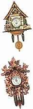 Baoblaze 2x Antique Cuckoo Clock Wall Vintage