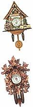 Baoblaze 2x Antique Cuckoo Clock Wall Vintage